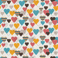 Seamless pattern with cute colorful hearts Stock Photos