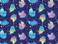 Seamless pattern of cute colorful vector ghost owls. Children cartoon style. Vector illustration