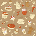 Seamless pattern with cute cupcakes Royalty Free Stock Photo