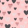 Bezšvový vzor roztomilý ozdobený srdce