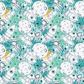 Seamless pattern with cute doodle astronauts, planets, rockets and stars Royalty Free Stock Photo