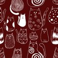 Seamless pattern with cute doodle cats. Outline animal art