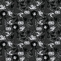 Seamless pattern with cute doodle witches and traditional halloween things