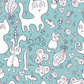 Seamless pattern with cute doodles childlike Royalty Free Stock Photo