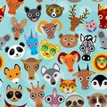 Seamless pattern cute face funny animals on blue