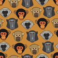 Seamless pattern with cute faces of monkeys vector illustration Stock Photo