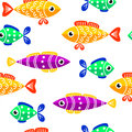 Seamless pattern of cute fish. Fish flat style vector background.