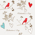 Seamless pattern with cute flowers hearts and birds Stock Photo