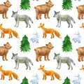 stock image of  Seamless pattern with cute forest animals: wolf, bear, fox, hare. Hand drawn watercolor illustration. Texture for print, fabric,