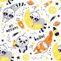 Seamless pattern with cute fox astronaut, raccoon, panda, planets, stars and comets. Space Background for Kids. Animals in outer