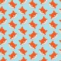 Seamless pattern with cute fox, flat style,