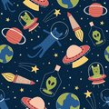 Seamless pattern with cute funny aliens and cat on galaxy with earth, planet, and stars. Background for children, kids, baby