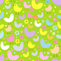 Seamless pattern with cute funny cartoon birds.