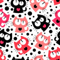 Seamless pattern with cute funny cartoon cats