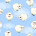 Seamless pattern with cute funny herd white sheeps on sky