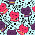 Seamless pattern cute funny kittens Royalty Free Stock Photo