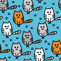 Seamless pattern with cute funny kittens. vector