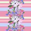 Seamless pattern with cute garden flowers on striped background. Royalty Free Stock Photo