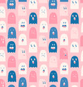 Seamless pattern with cute ghosts spooks background halloween texture Stock Image