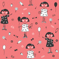 Seamless pattern cute girl with balloon, ice cream, strawberries and other sweets on pink background.