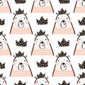 Seamless pattern with cute girl bear bears princess . Perfect for fabric,textile.Vector background