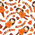 Seamless pattern of cute girls and mapple leaves Royalty Free Stock Photo