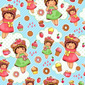 Seamless pattern with cute girls and sweets Royalty Free Stock Photos