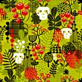 Seamless pattern with cute halloween and flowers vector background Stock Image