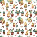 Seamless pattern with Cute hand drawn cats in different poses damaging home plants. Vector flat doodle Scandinavian cartoon