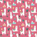 Seamless pattern of cute hand-drawn white llamas or alpacas, cacti, mountains, sun, garlands on a pink background. Illustration fo