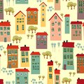 Seamless pattern with cute houses doodle town background Stock Images