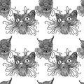 Seamless pattern with cute kats. Cat background in mandala style. Black and white vector illustration. Royalty Free Stock Photo