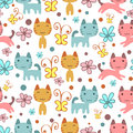 Seamless pattern with cute kittens colorful Stock Images