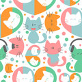 Seamless pattern with cute kittens colorful Stock Photography