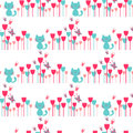 Seamless pattern with cute kittens and flowers Stock Photography