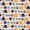 Seamless pattern with cute kittens and random elements Stock Images