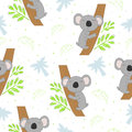 Seamless pattern with cute koala on the tree . Vector background for kids