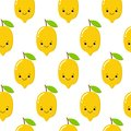 stock image of  Seamless pattern with cute lemons on the white background. Vector illustration