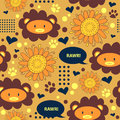 Seamless pattern with cute lions sunny Stock Image