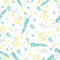 Seamless pattern with cute little birds, branches, flowers, leaves for your design. Pastel blue and green color