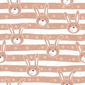 Seamless pattern with cute little bunny. vector illustration