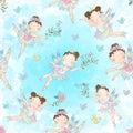 Seamless pattern with cute little magical fairies. Vector