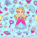 Seamless pattern with cute little princess in the pink dress cartoon vector background Royalty Free Stock Photo