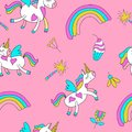 Seamless pattern with cute magic unicorns with wings. Vector illustration.
