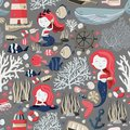 Seamless pattern with cute mermaids, lighthouse, fishes, shells, anchor, starfish etc. Sea or ocean life. Texture