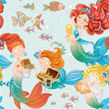 Seamless pattern with cute mermaids playing jewelry Stock Photography