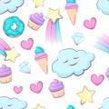 Seamless pattern with cute object. Cloud, star, rainbow, heart, icecream and diamond. Cartoon style vector