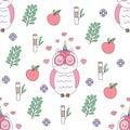 Seamless pattern cute owl cartoon hand drawn style.