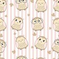 Seamless pattern cute owl with leaf
