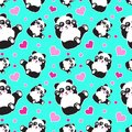 Seamless pattern with cute panda bear and hearts. Funny children`s background, print, gift wrap